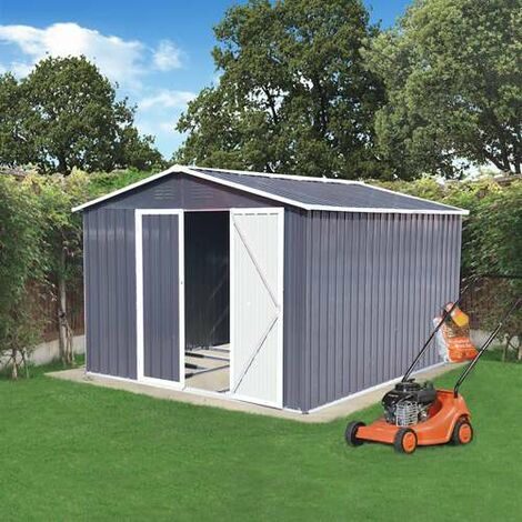 BIRCHTREE Garden Shed Metal Apex Roof 10FT X 8FT Grey and White