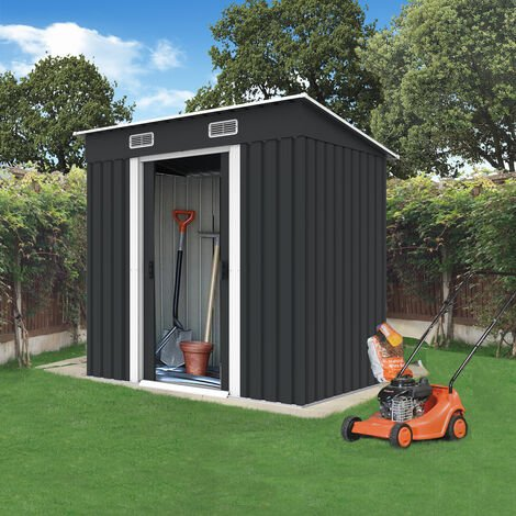 BIRCHTREE Garden Shed Metal Pent Roof 4FT X 6FT Anthracite White