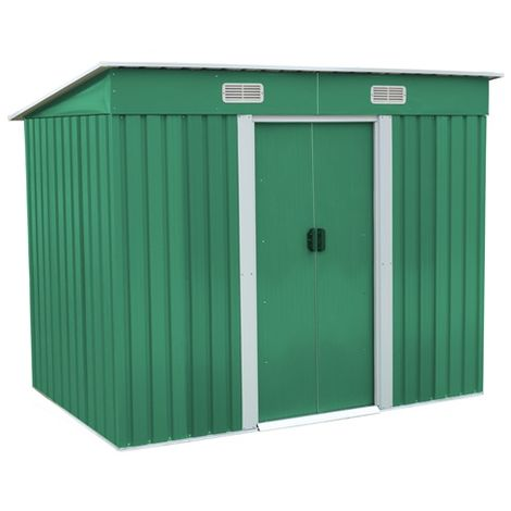 BIRCHTREE Garden Shed Metal Pent Roof 4FT X 6FT Green and White