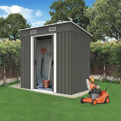 BIRCHTREE Garden Shed Metal Pent Roof 4FT X 6FT Grey White