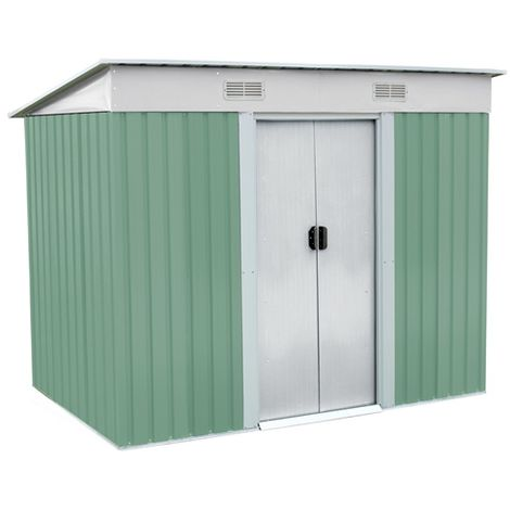 BIRCHTREE Garden Shed Metal Pent Roof 4FT X 6FT Light Green and Cream
