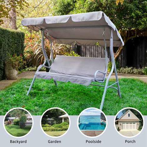 BIRCHTREE Garden Swing Hammock 3 Seater Chair SC01 Grey