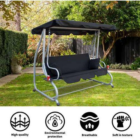 BIRCHTREE Garden Swing Hammock 3 Seater Chair SC05 Black