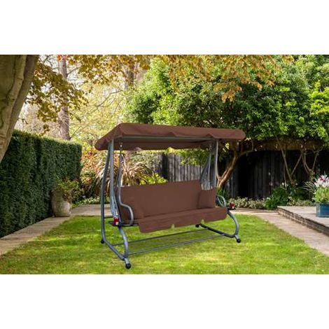 BIRCHTREE Garden Swing Hammock 3 Seater Chair SC05 Brown