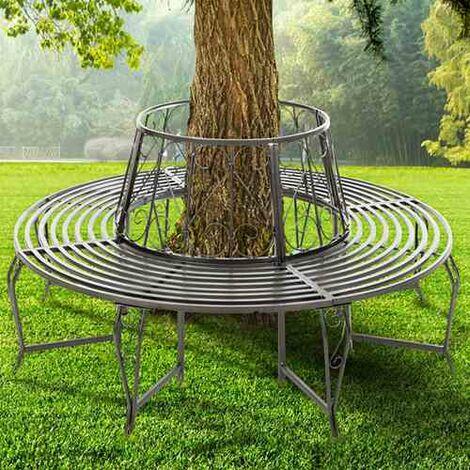 BIRCHTREE Garden Tree Bench Steel GTB01 Grey