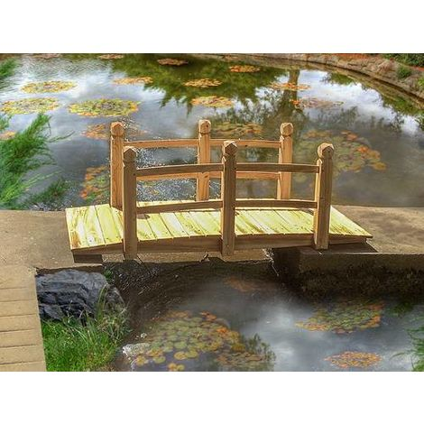 BIRCHTREE Garden Wooden Bridge With Low Rail