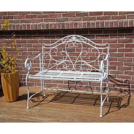 BIRCHTREE Metal Garden Bench MGB02 White