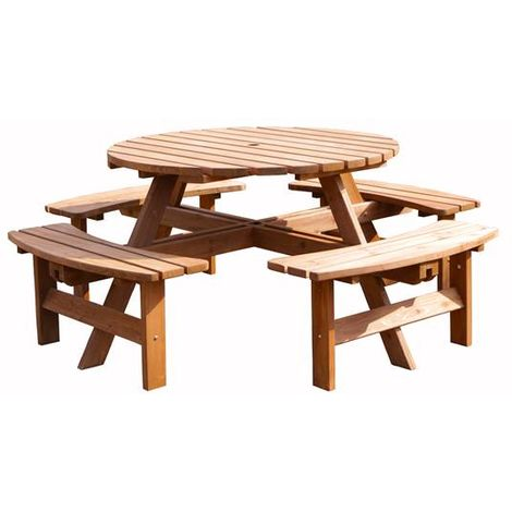 BIRCHTREE Outdoor Garden 8 Seater Wooden Pub Bench Round Table Brown PT1303
