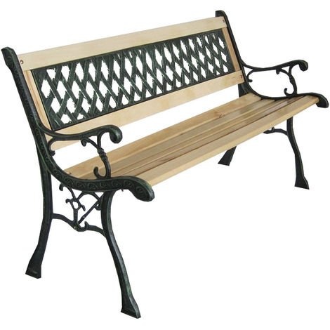 BIRCHTREE Outdoor Wooden 3 Seater Cross Lattice Garden Bench