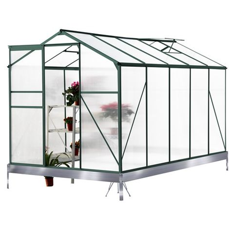BIRCHTREE Polycarbonate Greenhouse Aluminium 10X6FT Green