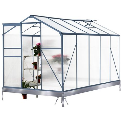 BIRCHTREE Polycarbonate Greenhouse Aluminium 10X6FT Grey