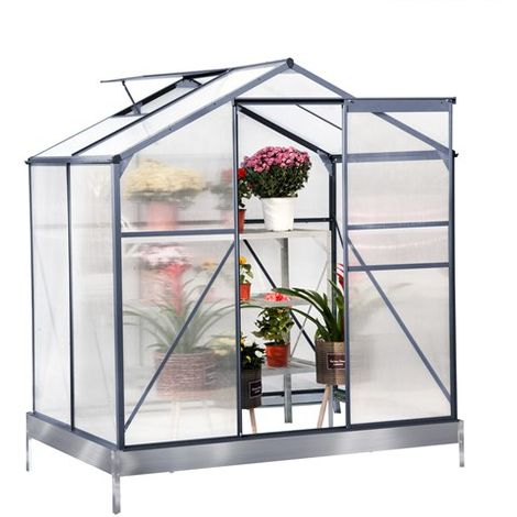 BIRCHTREE Polycarbonate Greenhouse Aluminium 4X6FT Grey