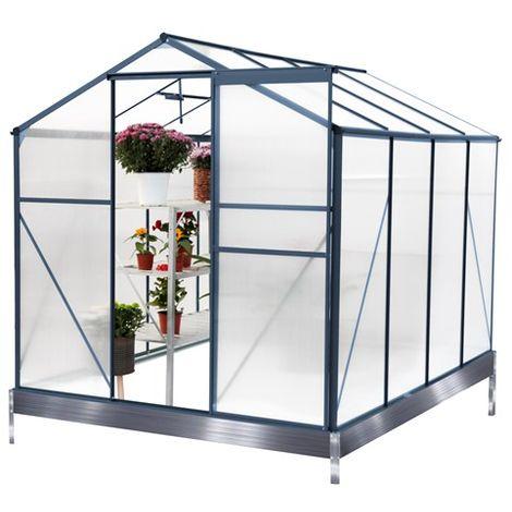 BIRCHTREE Polycarbonate Greenhouse Aluminium 8X6FT Grey