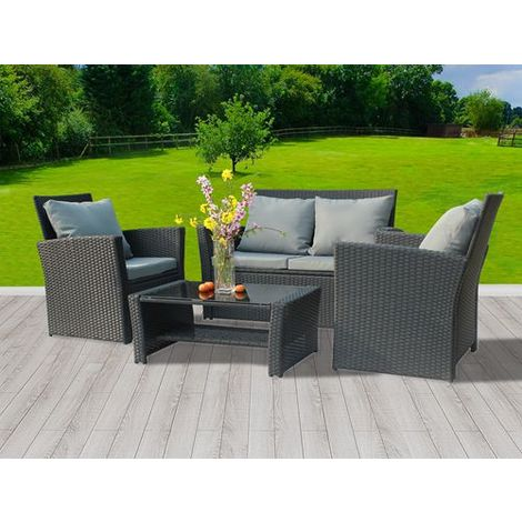 BIRCHTREE Rattan Furniture Set RFS02 Black