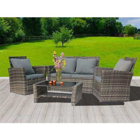 BIRCHTREE Rattan Furniture Set RFS02 Grey