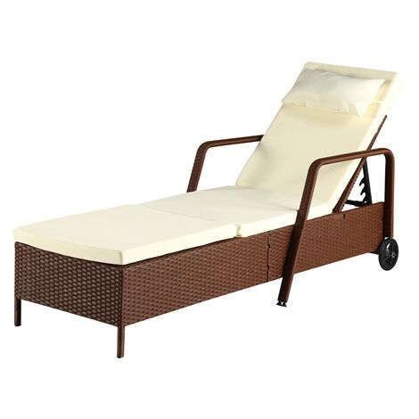"""main image of """"BIRCHTREE Rattan Lounger SRL01 Brown"""""""