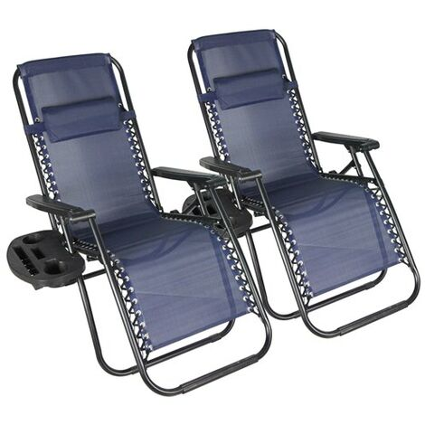 BIRCHTREE Sun Recliner Set of 2 With Cup Holder BT-SR03 Blue