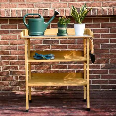 BIRCHTREE Wooden Plant Potting Table BT-PT01 Natural
