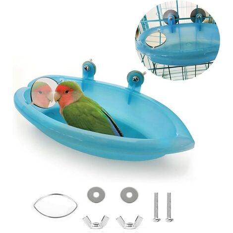 "main image of ""Bird bath bird bath shower cleaning bath bowl basin with mirror hanging bird animals small birds toy parrot accessories parakeet Cockatiel water supply plate (blue)"""
