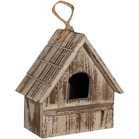 Bird box for hanging in paulonia wood with antiqued grey finish