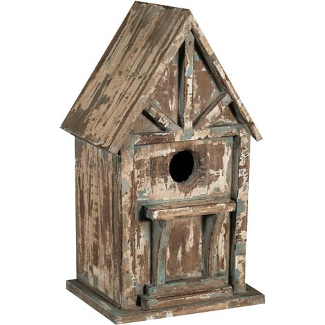 Bird box in paulonia wood with antiqued grey finish