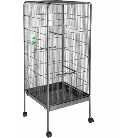 Bird cage 146 cm high - bird aviary, parrot cage, budgie cage - anthracite - antracita