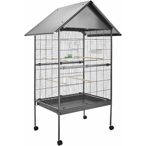 Bird cage 168cm high - bird aviary, parrot cage, budgie cage - anthracite - anthrazit