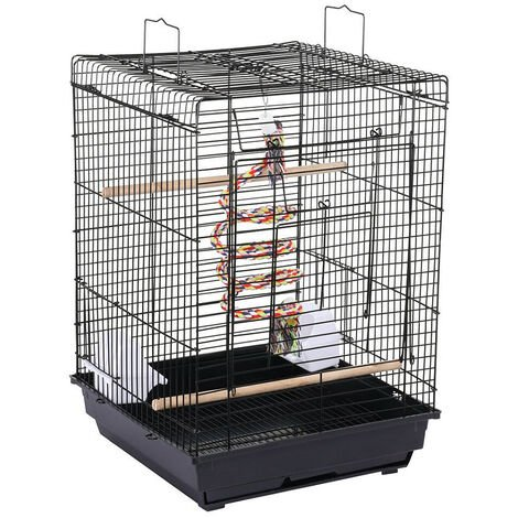 Bird Cage 40 x 40 x 58 cm Cage for Canary Cockatiel Parakeet Toy Rope Top Opening