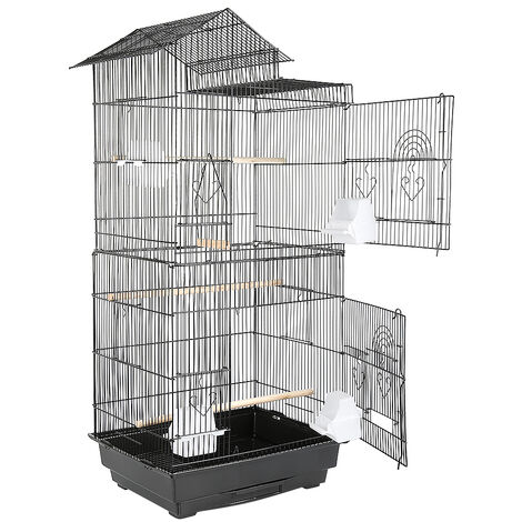 Bird Cage 46 x 35.5 x 99 cm Portable Handle 4 Feeders 3 Perches Cage for Parakeet Cockatiel Conure Finch Canaries