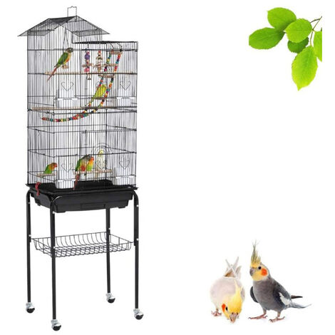 Bird Cage on Wheels Aviary with Ladders Parakeet Toys Cockatiels Lovebirds Mandarins Canaries 46 x 35.5 x 158.5 cm