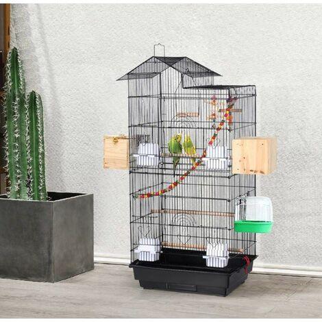 Bird Cage Portable Handle 4 Feeders 3 Perches Cage for Parakeet Cockatiel Conure Finch Canaries