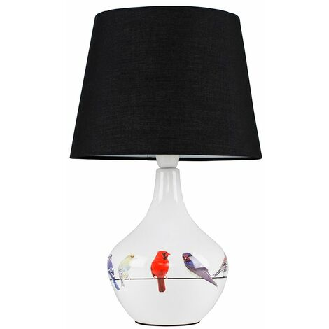 Bird Ceramic Table Lamp Bedside Fabric Shade Light