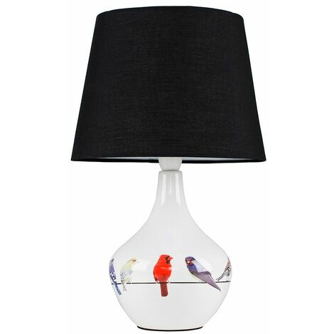 Bird Ceramic Table Lamp Bedside Lighting Fabric Shade LED Light Bulb