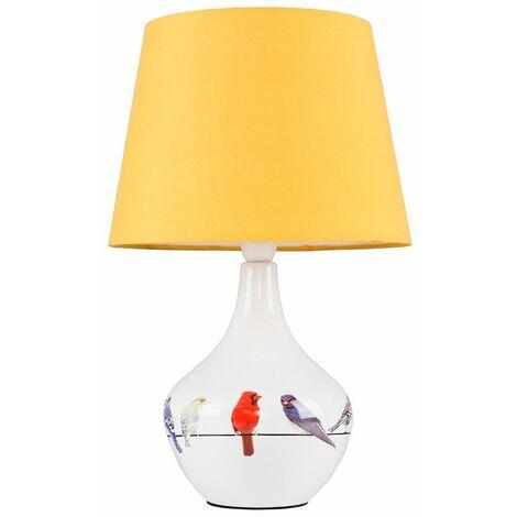 Bird Ceramic Table Lamp Bedside Lighting Fabric Shade LED Light Bulb - White