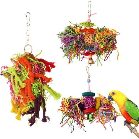 """main image of """"Bird chew toy parrot cage paper shredder toy foraging hanging toy parrot parrot African gray Amazon (pack of 3)."""""""