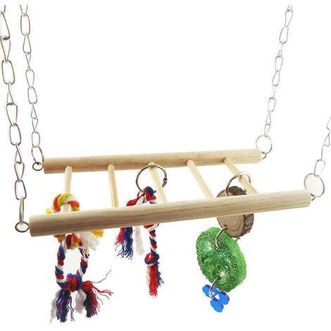 "main image of ""Bird Hanging Ladder Bird Swing Toys Wooden Suspension Bridge for Parrots Birds Squirrel Hamster Guinea Pigs Mice,model:Multicolor"""