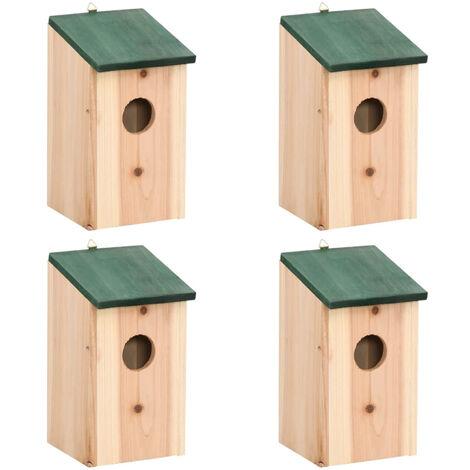 Bird Houses 4 pcs Wood 12x12x22 cm
