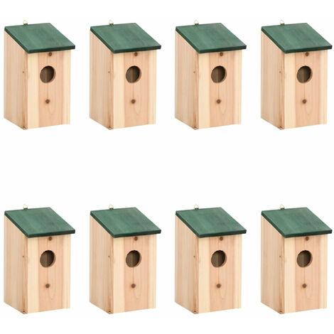 Bird Houses 8 pcs Wood 12x12x22 cm