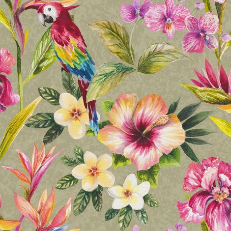 Bird Of Paradise Wallpaper Birds Flowers Floral Paste The Paper Shiny Gold Holden