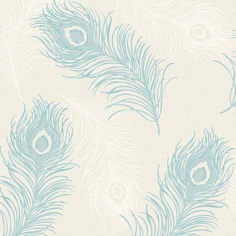 Bird Peacock Feather Glitter Wallpaper Teal Cream Metallic Vinyl Debona Viola