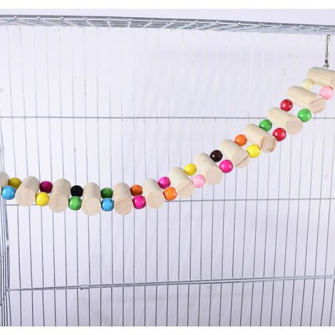 """main image of """"Bird Perch Support Toy, Wooden Swing Climbing Ladder Toys, Bird Cage Parrot Play Gyms"""""""