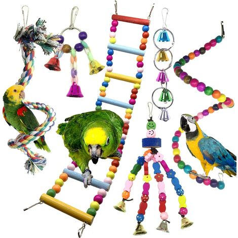Bird Toys, Colorful Birds Toys with Bells, Bridge Ladders, Perched Bird Toy Swing, Climbing Toy, Decoration Animal Small Bird Cages, 6 Pieces