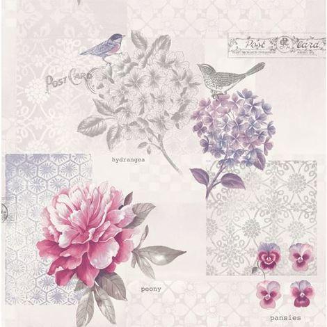 Birds Flowers Trees Floral Daydream Wallpaper Paisley Metallic White Purple Pink