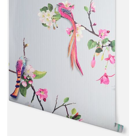 Birds of Paradise Grey & Pink Wallpaper - Arthouse - 297101