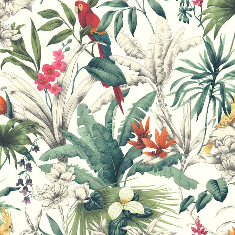 Image of Birds Of Paradise Wallpaper Jungle Cream Green Paste The Wall - Accessorize