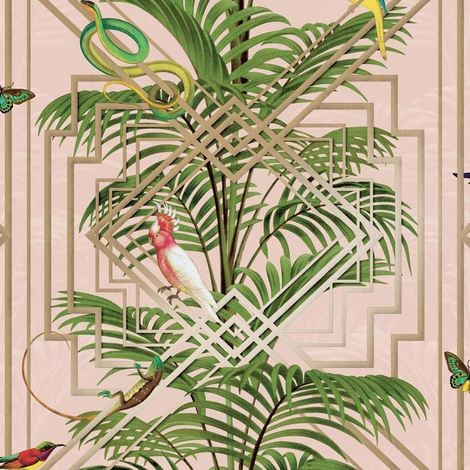 Birds Tropical Palm Trees Wallpaper Pink Metallic Gold Green Congo Holden Decor