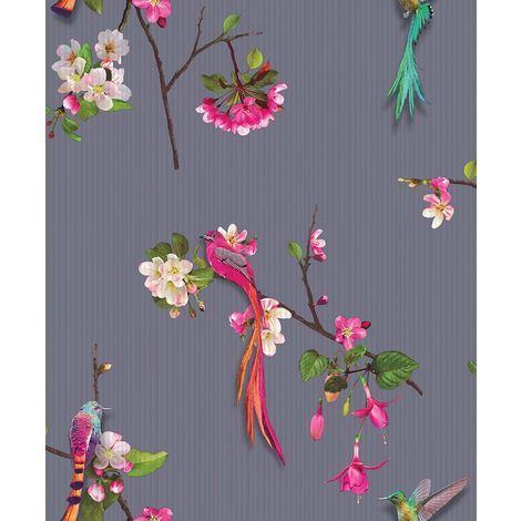 Birds Wallpaper Flowers Chinese Oriental Luxury Textured Vinyl Kotori Arthouse