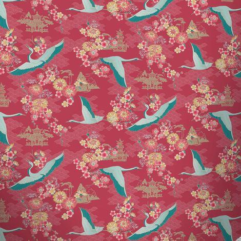 Birds Wallpaper Flowers Floral Temple Oriental Metallic Shiny 4 Colours Rasch