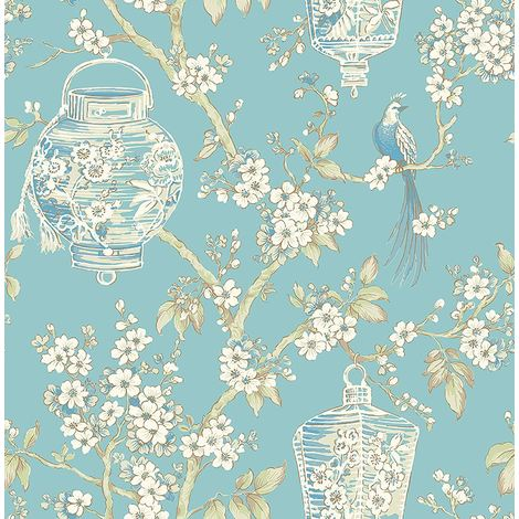 Birds Wallpaper Flowers Oriental Lanterns Floral A Street Prints Paste The Wall