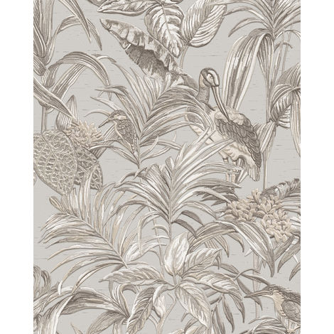 Birds wallpaper wall Profhome DE120011-DI hot embossed non-woven wallpaper embossed with exotic design shiny grey white silver 5.33 m2 (57 ft2)